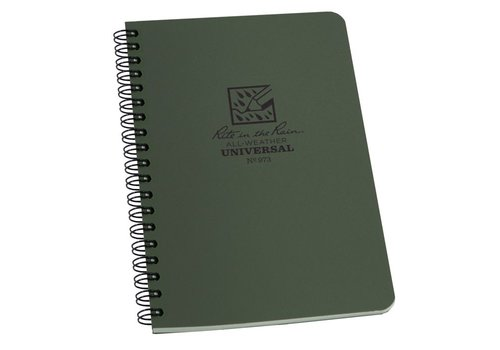 Rite in the Rain Side Spiral Notebook 12 X 18cm - Olive Drab