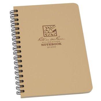 Rite in the Rain Side Spiral Notebook 12 X 18cm - Tan