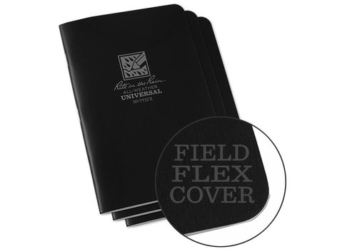Rite in the Rain Field Flex Cover Notebook (3 stuks) 11,75cm X 17,5cm - Black