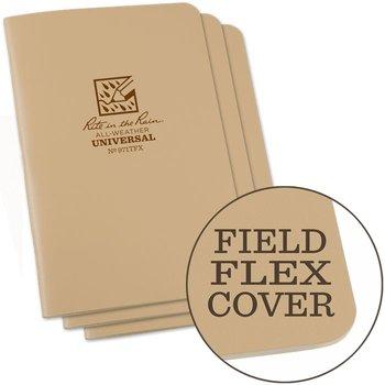 Rite in the Rain Field Flex Cover Notebook (3 stuks) 11,75cm X 17,5cm - Coyote Tan
