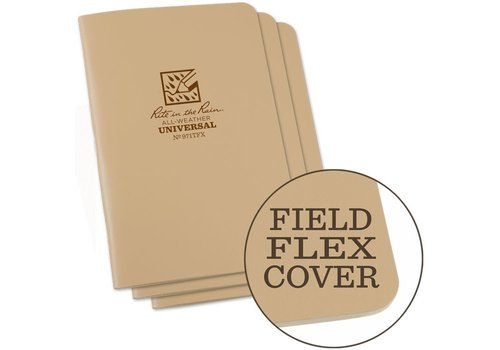 Rite in the Rain Field Flex Cover Notebook (3 pieces) 11,75cm x 17,5cm - Coyote Tan