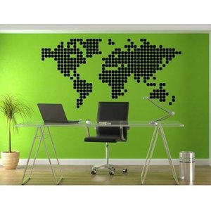 Muursticker Wereldkaart Blokken