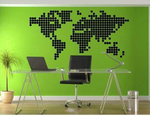 Wall Sticker World Map.Wall Sticker World Map Blocks Walldesign56 Wall Decals Murals