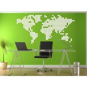 Wall Sticker World Map Blocks