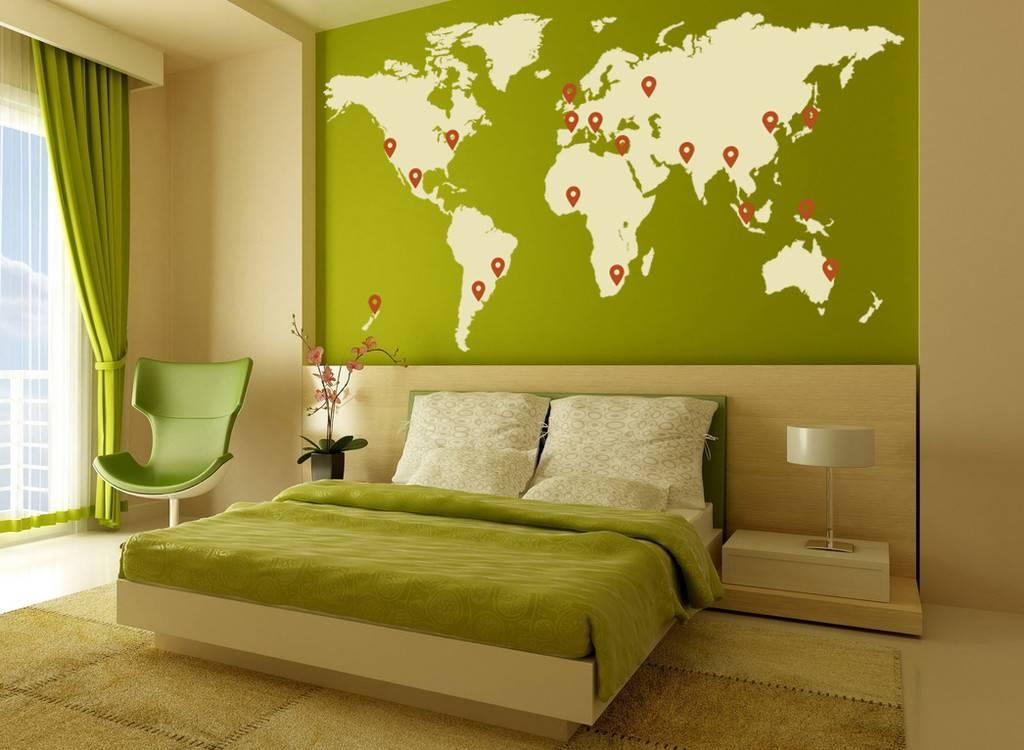 Muursticker wereldkaart for Interior design for living room and bedroom