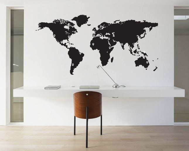 world map wall decal with Muursticker Wereldkaart Met Pin Points on Educational Wall Decals additionally Solar System Art also Cool Office Wall Art together with 5987705469 moreover Large Family Photo Tree Birds.
