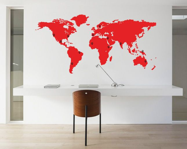 Wall decal world map pin points walldesign56 wall decals murals wall decal world map pin points gumiabroncs Image collections