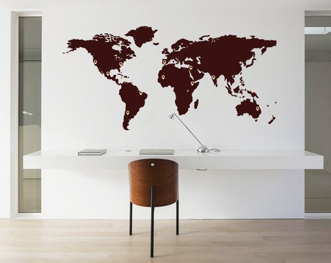 Muursticker Wereldkaart met Pin Points - Walldesign56.com