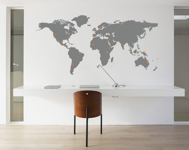 wandaufkleber weltkarte pin points walldesign56. Black Bedroom Furniture Sets. Home Design Ideas