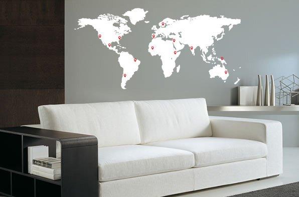 Woonkamer Met Wereldkaart : Muursticker wereldkaart met pin points walldesign