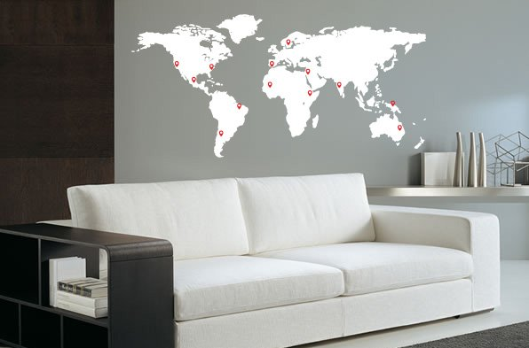 Wall decal world map pin points walldesign56 wall decals wall decal world map pin points gumiabroncs Gallery