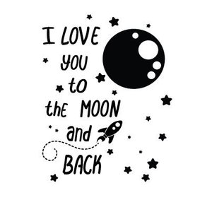 muursticker i you to the moon and back walldesign56