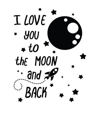 wall decal i love you to the moon and back walldesign56 wall decals murals posters. Black Bedroom Furniture Sets. Home Design Ideas