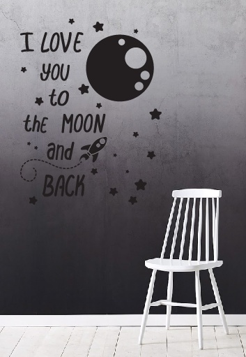 muursticker i love you to the moon and back. Black Bedroom Furniture Sets. Home Design Ideas
