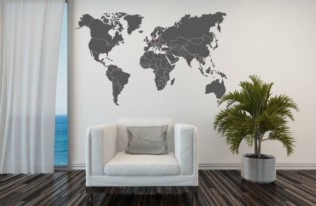 Wall sticker world map with borders walldesign56 wall decals wall sticker world map with borders gumiabroncs Choice Image