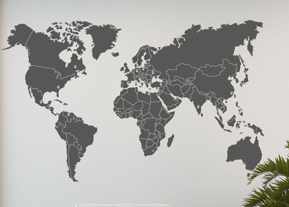 Schlafzimmer schlafzimmer rosa grün : Wandtattoo Weltkarte Ländergrenzen - Walldesign56 - Wandtattoos ...
