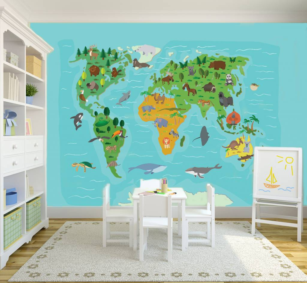 Mural world map kids walldesign56 wall decals murals for Children s wallpaper mural