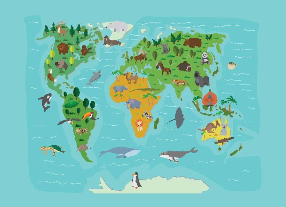 Mural World Map Kids Walldesign Wall Decals Murals Posters - World map for kids