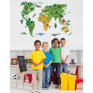 Wall Decal World Map Children