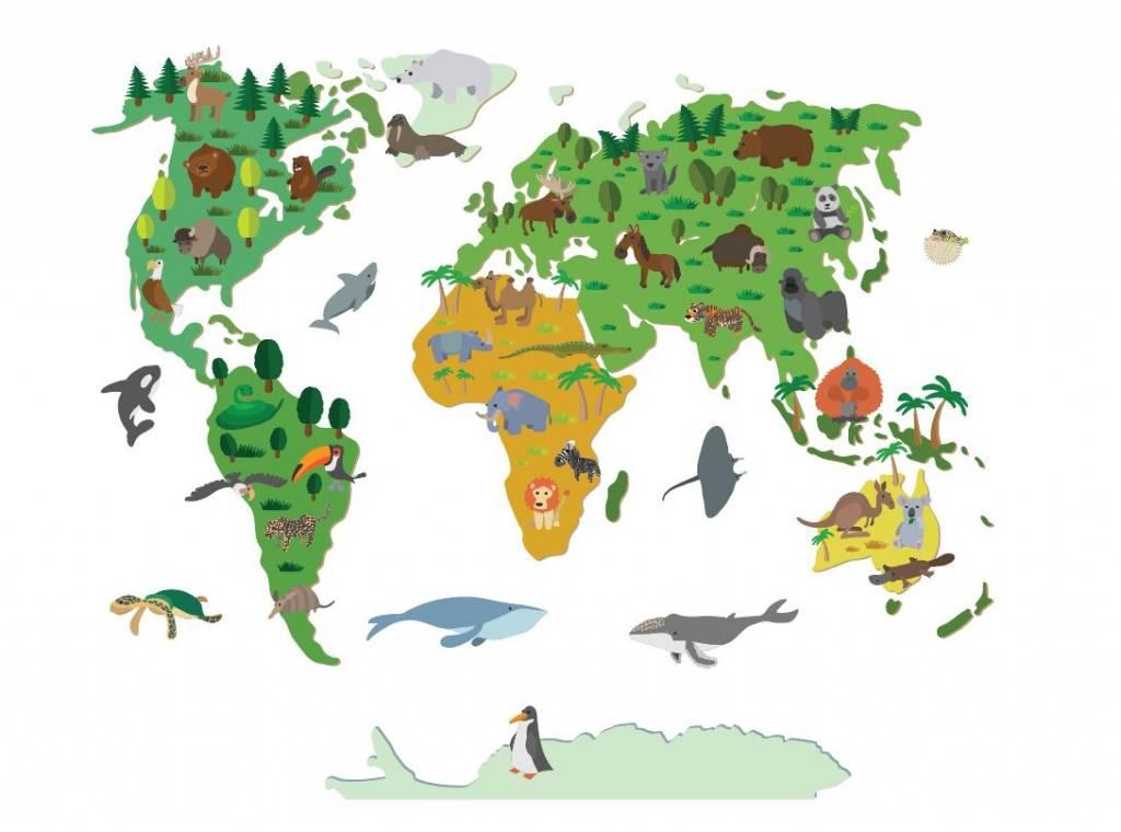 Weltkarte Kinderzimmer | Wand Aufkleber Weltkarte Kinder Walldesign56 Wandtattoos