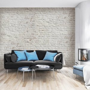 Mural Stone - Brick White Retro design
