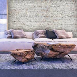 Mural Stone - Brick White Retro design