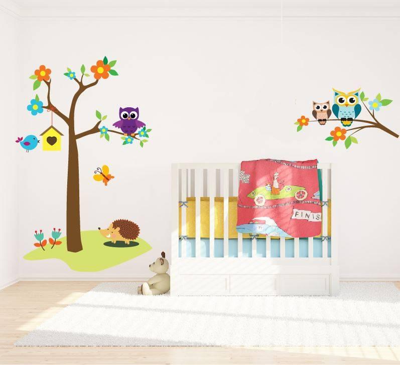 Wall Sticker Tree With Owls U0026 Branch