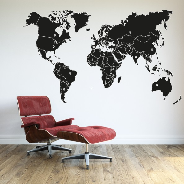 Wall Sticker World Map With Borders
