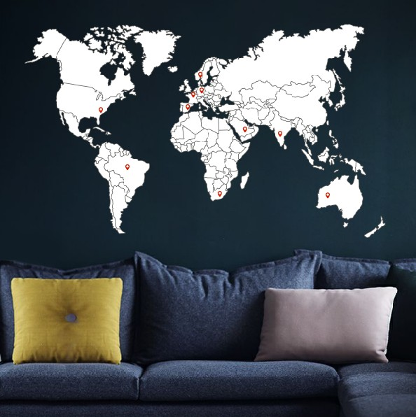 Wall sticker world map with borders walldesign56 wall decals wall sticker world map with borders gumiabroncs Image collections