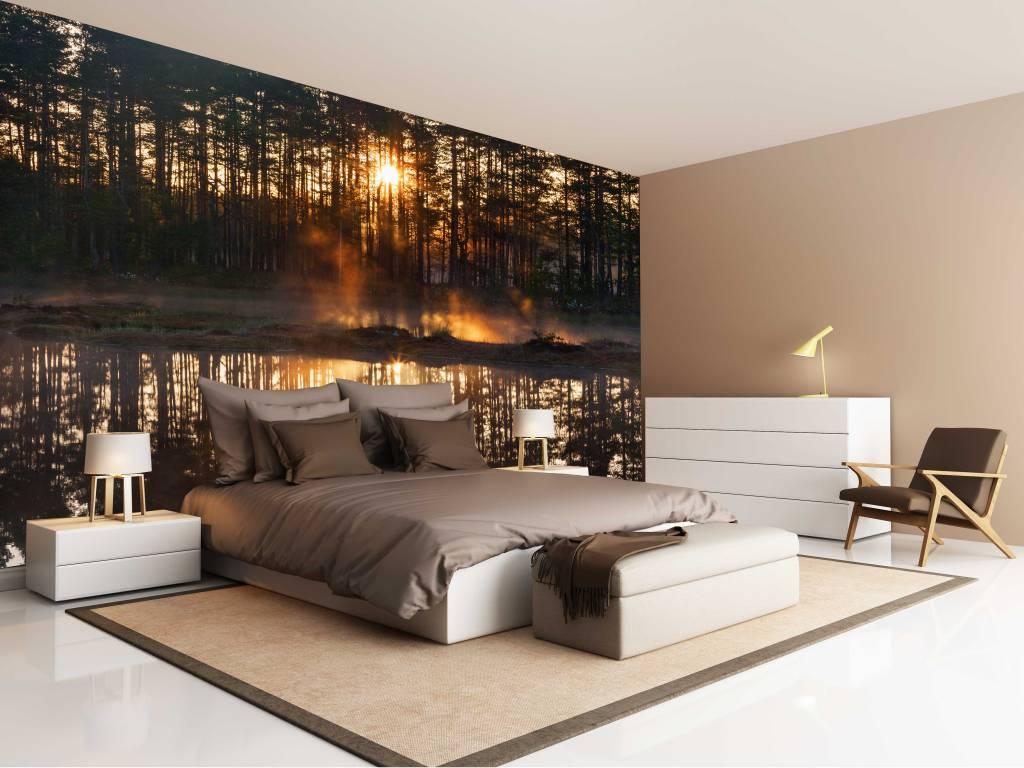 Fotobehang Slaapkamer Zwart Wit : Fotobehang Bos zonsondergang ...