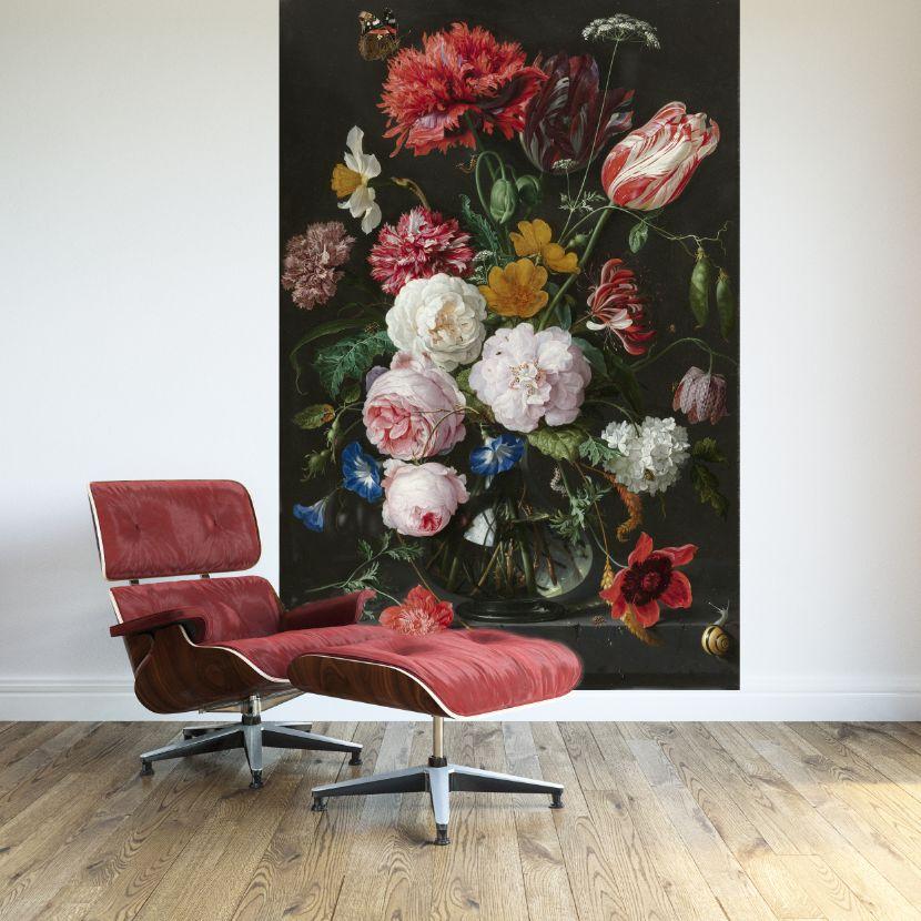 Zeer Zelfklevend Fotobehang Stilleven met bloemen in een glazen vaas  &GO48