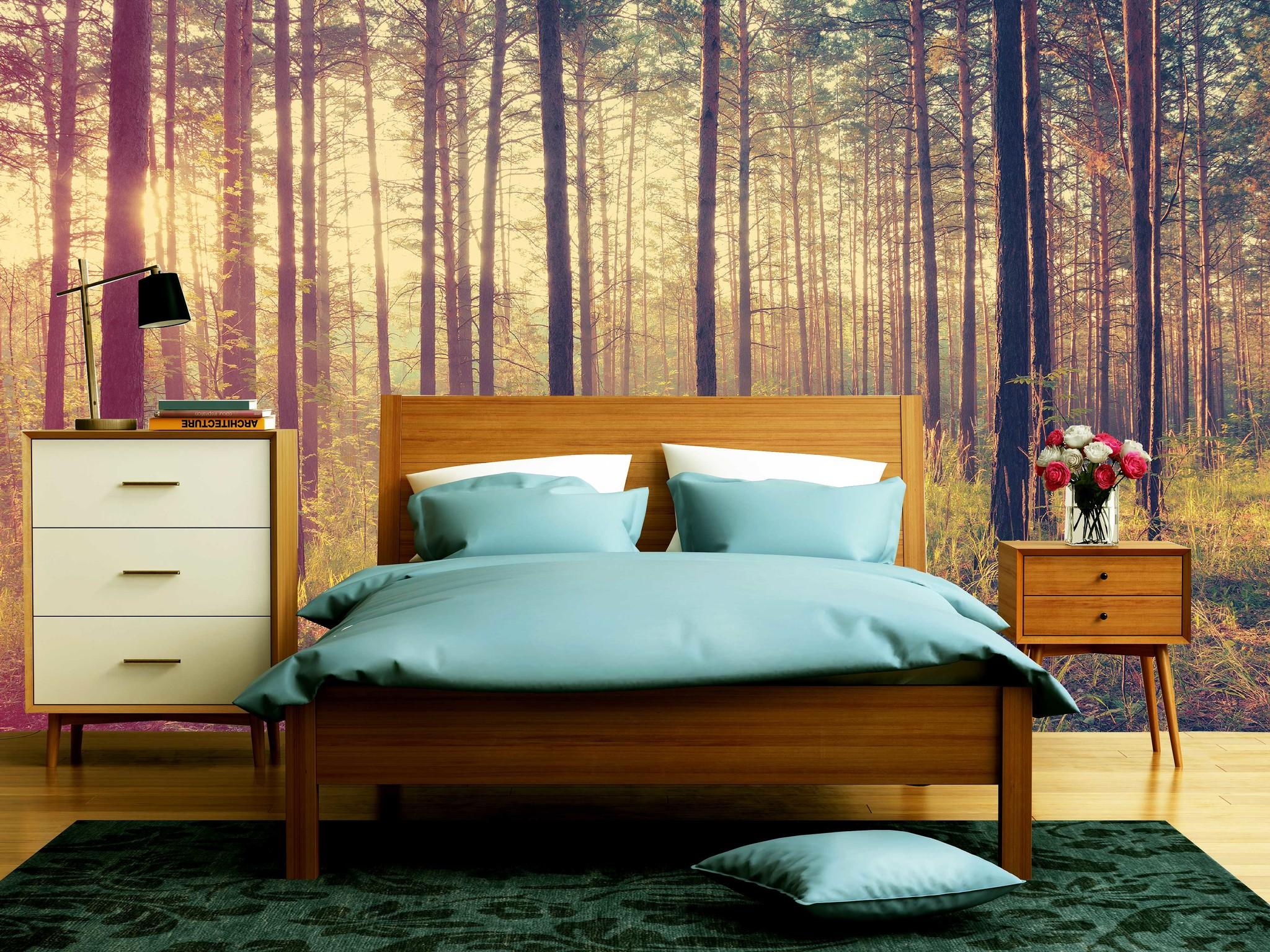 Fotobehang In Slaapkamer : Waan je in een oase van rust met een fotobehang bos walldesign