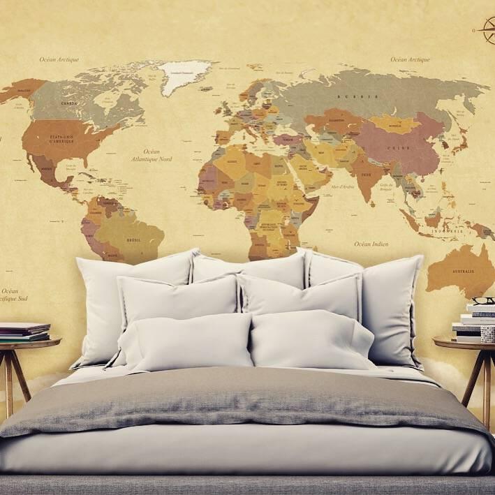 Selbstklebende Tapete Eule : Mural Vintage Weltkarten – Walldesign56 – Wandtattoos – Fototapete