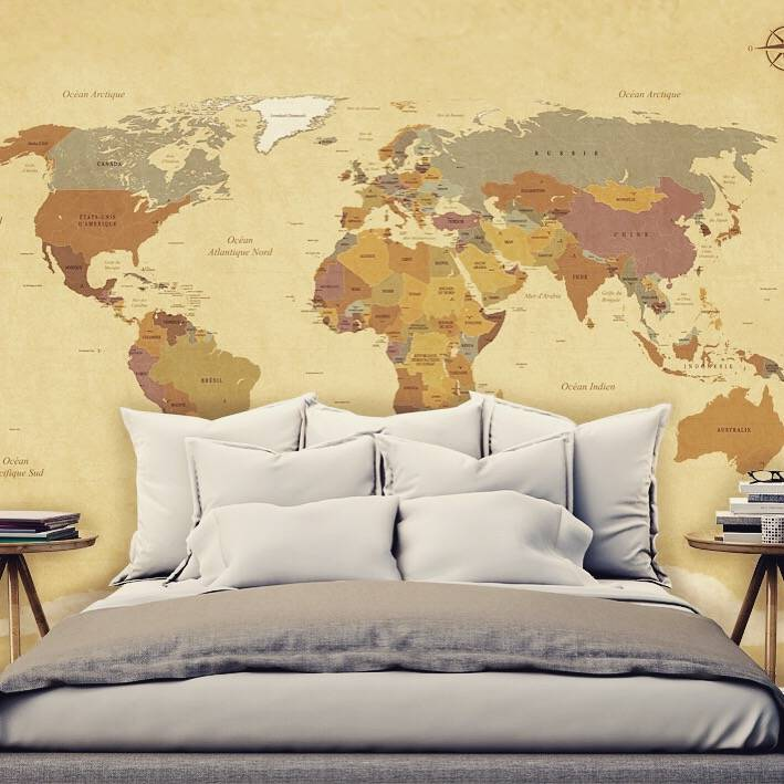 mural vintage world map walldesign56 wall decals. Black Bedroom Furniture Sets. Home Design Ideas