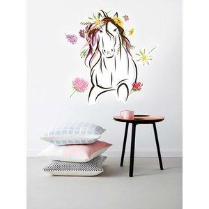 Muursticker Paard met bloemen
