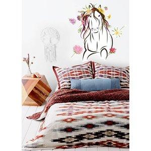 Wand-Aufkleber Pferd mit Blumen