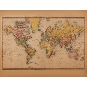 Fotobehang Wereldkaart Vintage 2 - Sepia