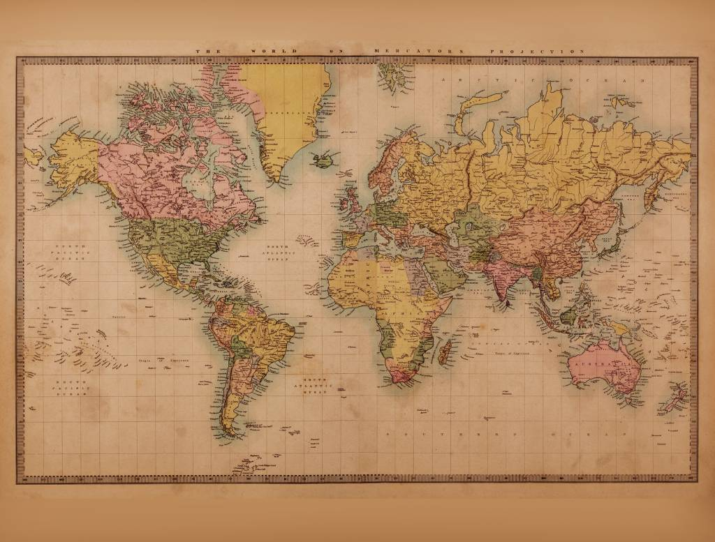 Amazing Mural World Map Vintage 2   Sepia