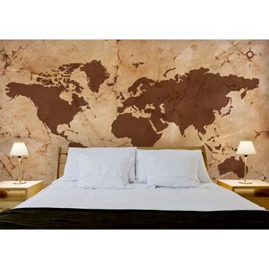 Mural World Map Vintage Brown