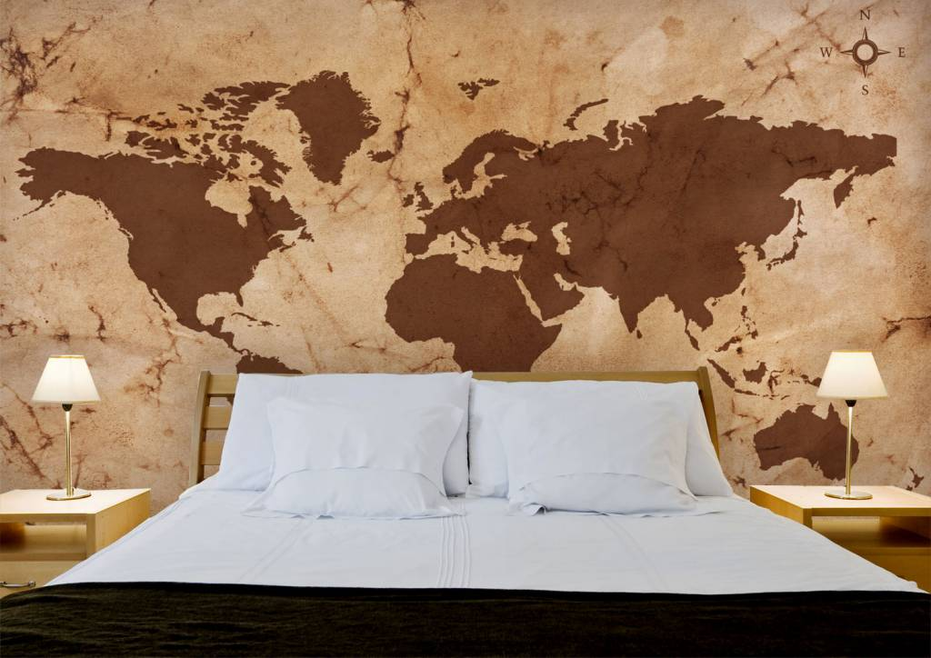Mural world map vintage brown walldesign56 wall decals for Antique world map wallpaper mural