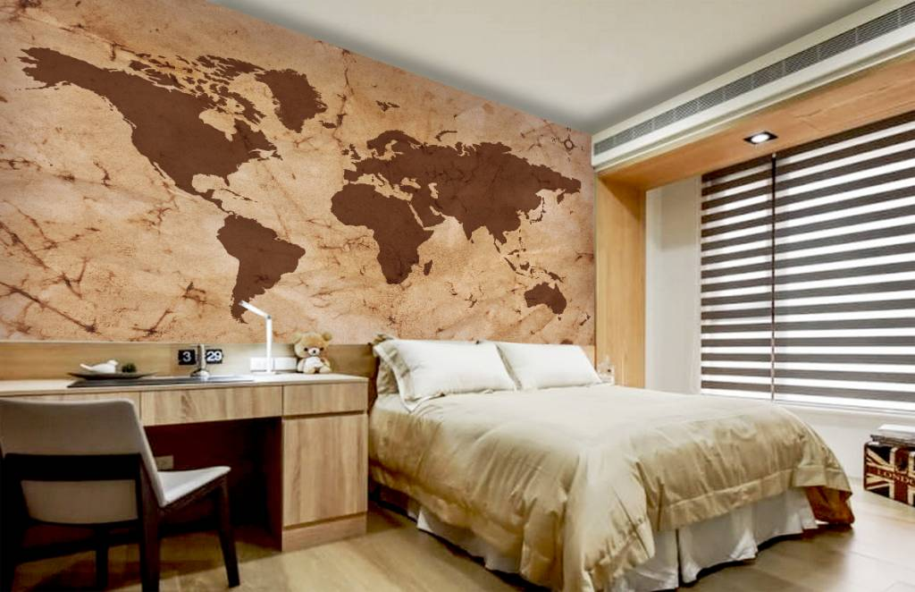 Mural World Map Vintage Brown Walldesign Wall Decals Murals - Floor to ceiling world map