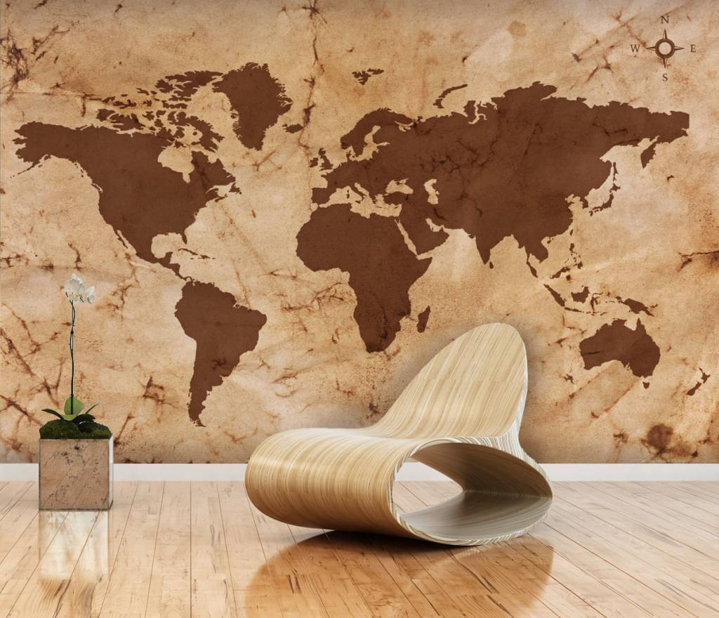 Mural world map vintage brown walldesign56 wall decals for Vintage tapete