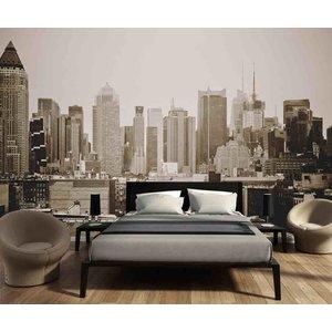 Fotobehang Skyline Manhattan zwart wit