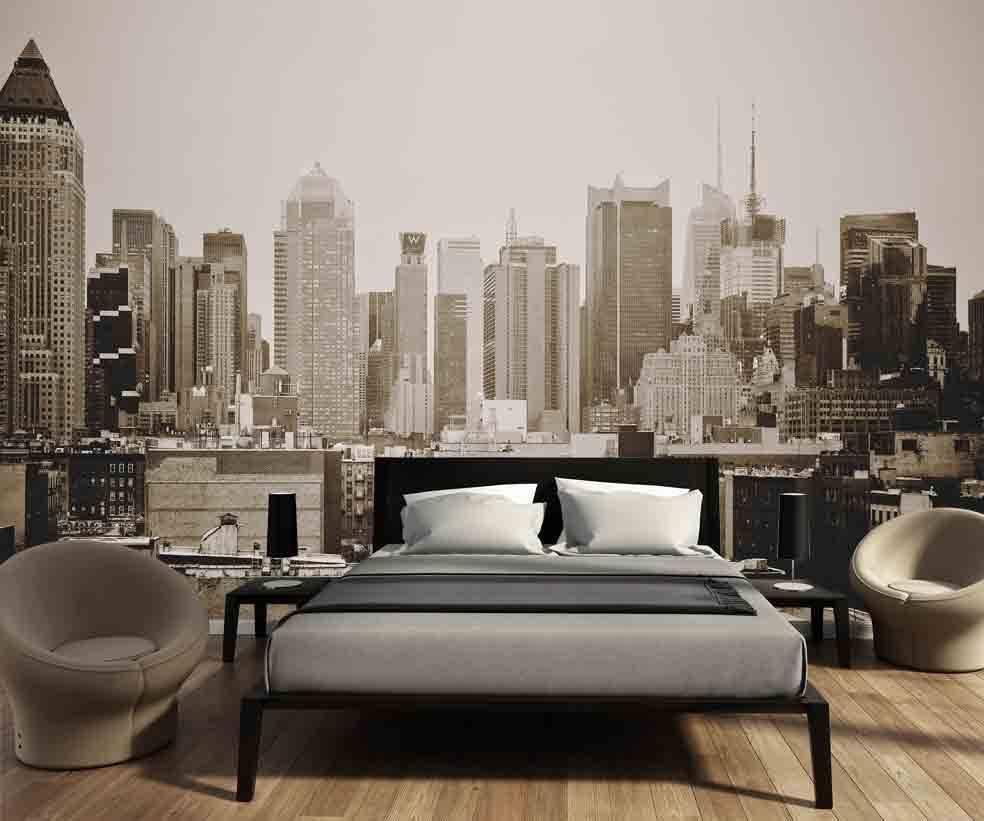 Fotobehang Skyline Manhattan zwart wit - Walldesign56.com