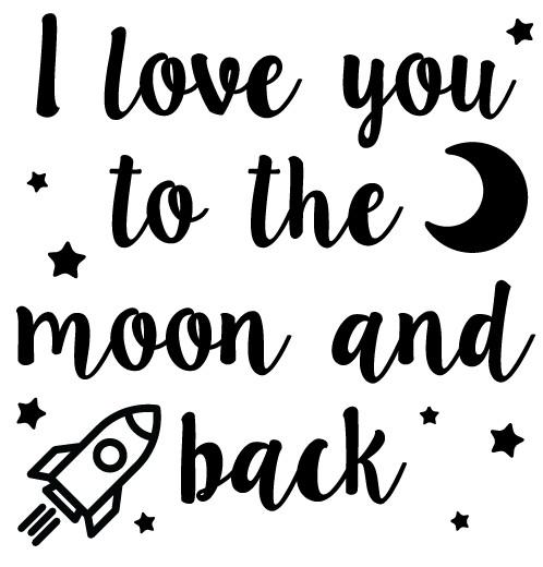 Wandaufkleber Ich liebe dich auf den Mond Kinder - Walldesign56 - Wandtattoos - Fototapete - Poster