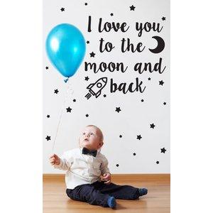 Wandaufkleber Ich liebe dich auf den Mond Kinder
