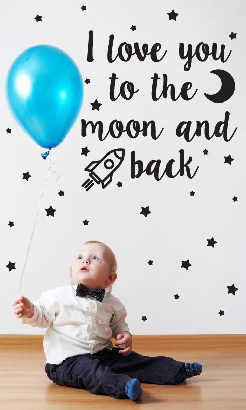 Muursticker I Love You To The Moon Kids Walldesign56com