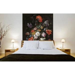 Mural Stillleben mit Blumen und eine Uhr - Abraham Mignon