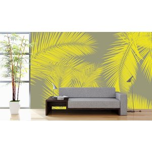 Photo Wallpaper Duo Palm - Yellow