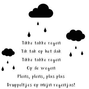 Muursticker  Tikke Takke Regen